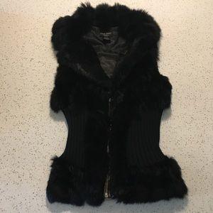 Authentic Guess Genuine Rabbit Fur Zip Up Vest